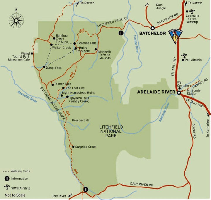 Batchelor and Litchfield  Map courtesy of Tourism NT